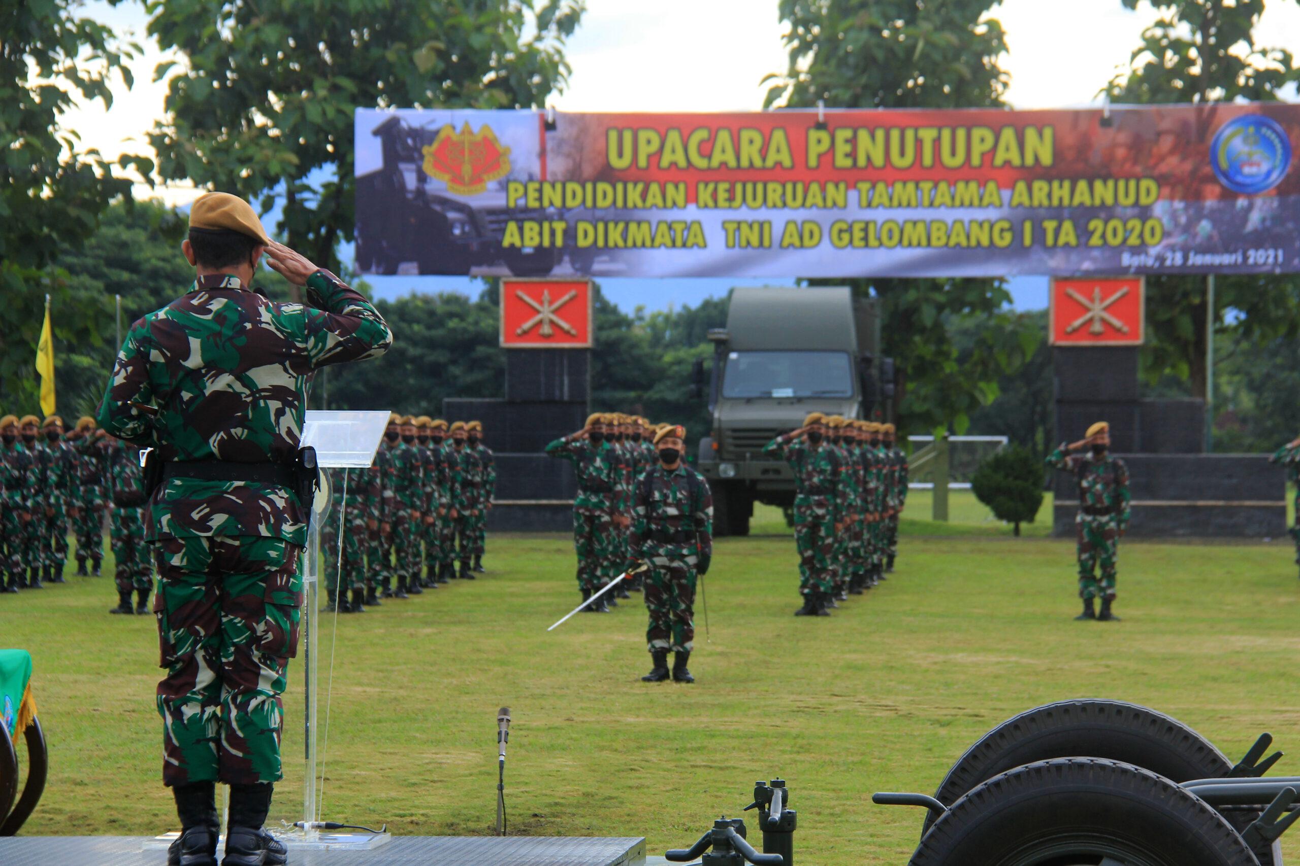 UPACARA PENUTUPAN DIKJURTA ARHANUD ABIT DIKMATA TNI AD GEL I TA 2020